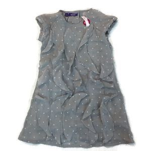 MEXX toddler girl Gray polka dot ruffle dress